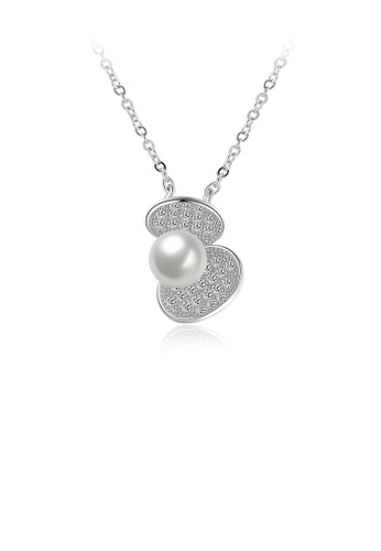 Glamorousky white 925 Sterling Silver Elegant Fashion Shell Pearl Pendant Necklace  with Austrian Element Crystal 9F0B5ACB33B54EGS_1