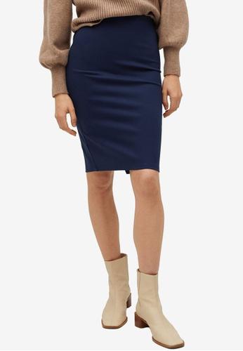 Mango blue Knit Pencil Skirt AD297AA146FD68GS_1