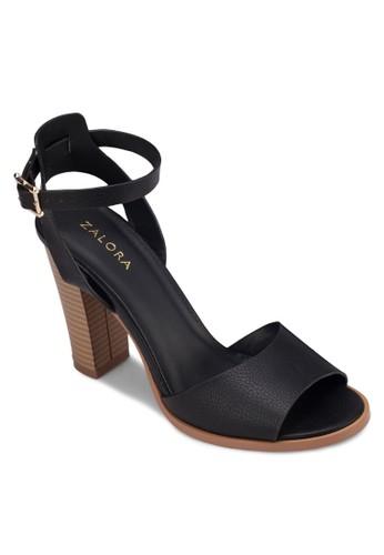 寬帶繞踝木製粗跟涼鞋, 女鞋, 高zalora 包包 ptt跟