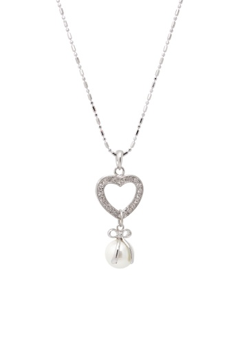 Jaysa Collection silver Butterfly Knot Pearl Necklace JA875AC0GVERSG_1