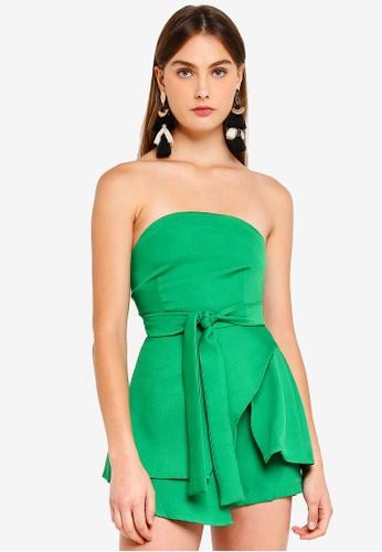 MISSGUIDED green Tie Waist Bandeau Skort Playsuit 44BB4AAA6D677EGS_1