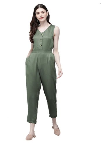 SASSAFRAS green Olive Sleevless Tapered Belted Jumpsuit 226E1AA0013B28GS_1