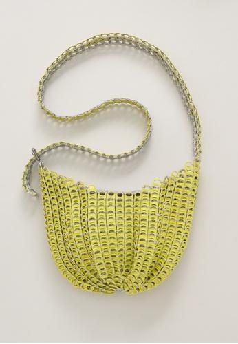 Bottletop yellow Bottletop® Bellani Mini Neon Yellow Recycled Aluminium Pull Rings black crocheted Shoulder Bag C20B5AC7223597GS_1