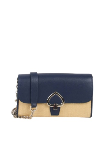 Kate Spade brown Kate Spade Small Robyn Straw WLRU6195 Flap Chain Wallet Crossbody Bag In Natural Multi CB9DCACA3EA084GS_1