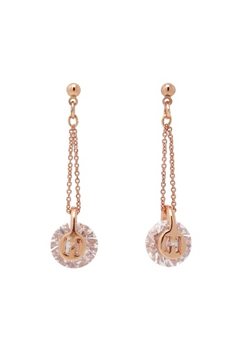 Jaysa Collection gold Petite Rose Gold Zirconia Earrings JA875AC0FJU2SG_1