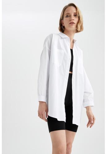 DeFacto white Long Sleeve Oversize Cotton Shirt 9296DAA3F92BE6GS_1