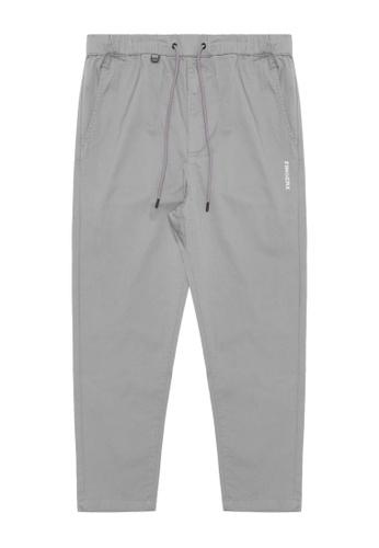 Fingercroxx grey Drawstring pants BA079AA0EF1964GS_1