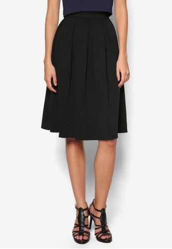 A 字褶飾傘擺及膝裙,zalora退貨 服飾, 裙子