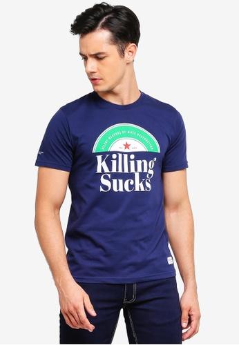 High Cultured 藍色 休閒印花T恤 4C064AAC748FFBGS_1
