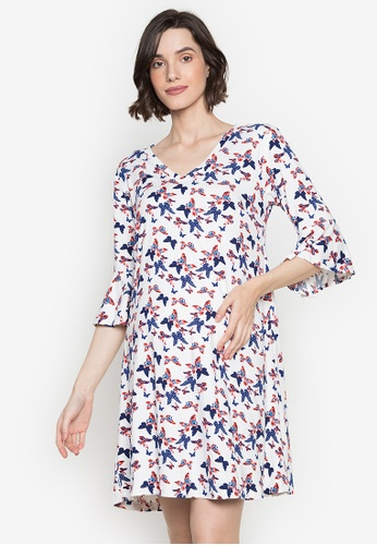 Mommy Plus white Ria Butterfly Print Maternity Dress 90D41AAD51E989GS_1