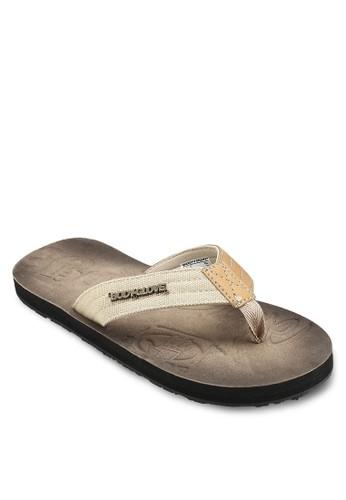 異材質拼接夾腳涼zalora 手錶鞋, 鞋, 鞋