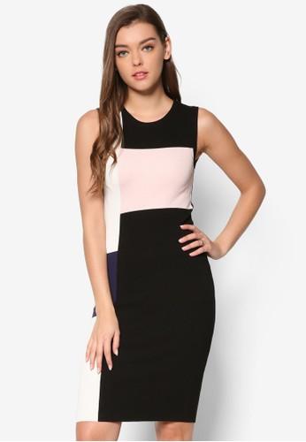Mona 撞色拼接貼身無esprit part time袖連身裙, 服飾, 洋裝