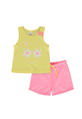 LC Waikiki yellow Baby Girl's Tank Top and Shorts Set D650EKA9243A86GS_1