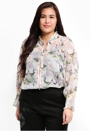 ELVI purple Plus Size The Talinum Floral Print Shirt 30C16AA32A04BEGS_1