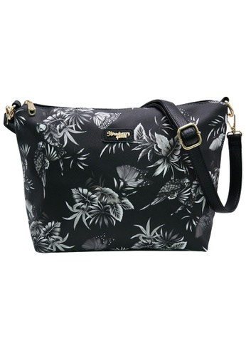 STRAWBERRY QUEEN black and white Strawberry Queen Flamingo Sling Bag (Floral AF, Black) 848AFAC0FF2A14GS_1