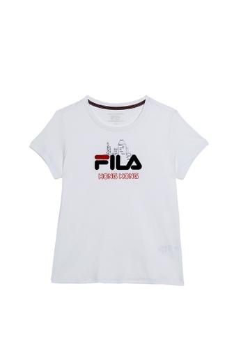 FILA white FILA HONG KONG Logo Cotton T-shirt 404F2AA1DD58AFGS_1