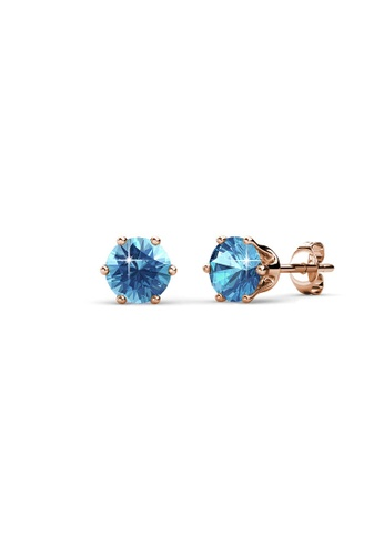 Her Jewellery blue and gold Birth Stone Earrings (March, Rose Gold) - Made with premium grade crystals from Austria DB3ACAC17D9933GS_1