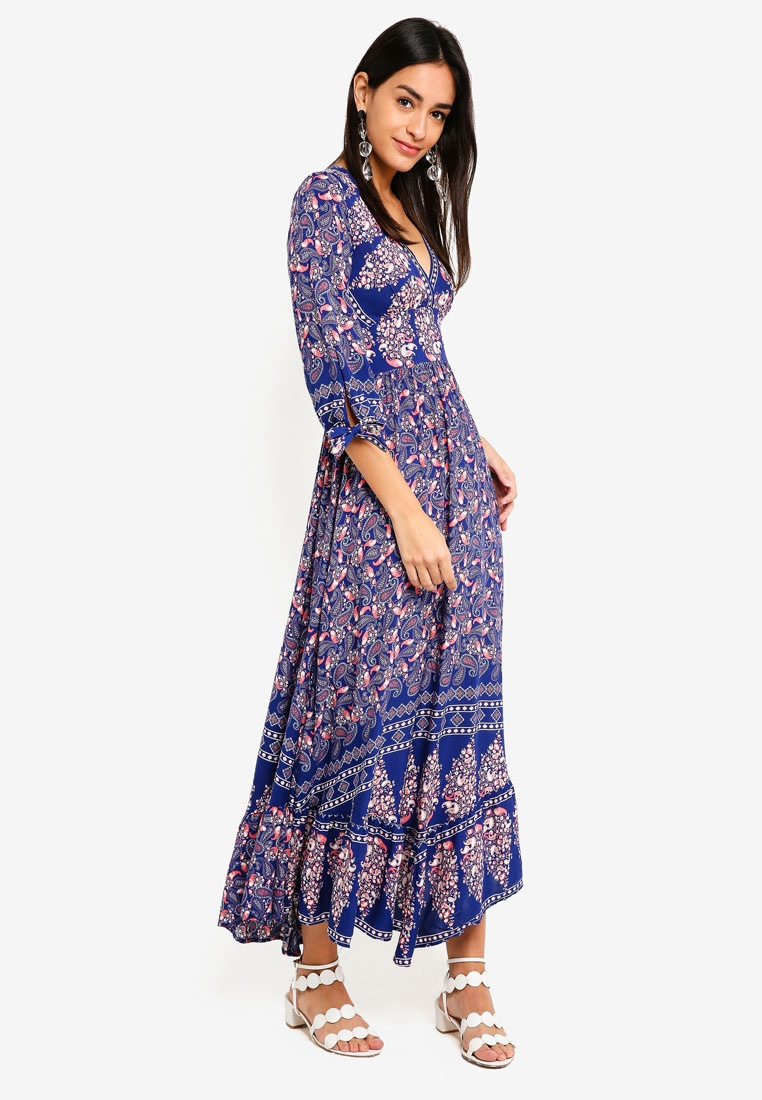 INDIKAH Blue Print Sleeve Floral Dress On Floral Maxi Red 4 3 ZxCqCa
