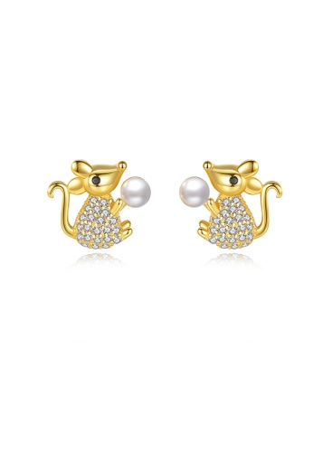 SUNRAIS gold High quality Silver S925 golden mouse earrings 9959AACCE8D533GS_1