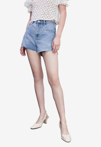 Urban Revivo blue Casual Denim Shorts F14BBAA6835553GS_1