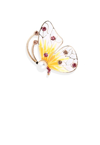 Glamorousky pink Fashion and Elegant Plated Gold Butterfly Imitation Pearl Brooch with Cubic Zirconia F2B97ACA8B914CGS_1