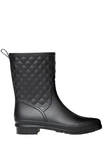 Twenty Eight Shoes black Rhombic Mid Rain Boots VR913 7E8D9SHE59549FGS_1