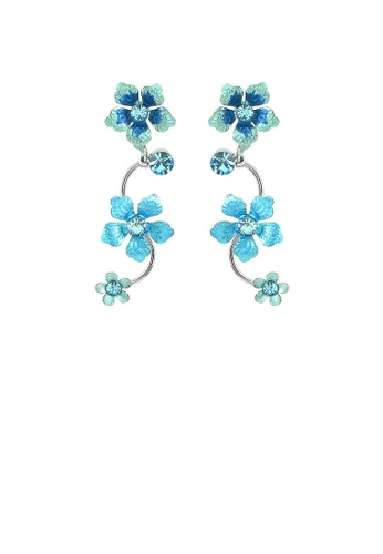 Glamorousky blue Blue Flower Shape Earrings with Blue Austrian Element Crystals D4173AC9413C65GS_1