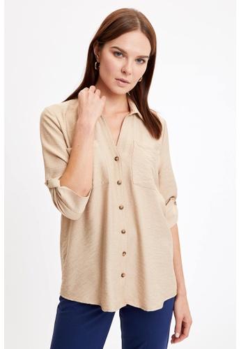 DeFacto brown Woman Woven Long Sleeve Shirt 31DFBAAEE2C3F0GS_1