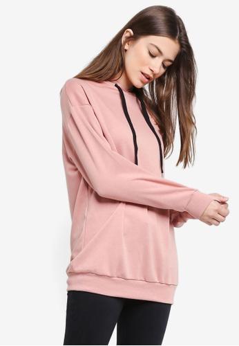 Something Borrowed pink Longline Fleece Hoodie FD629AAAA4FF7DGS_1