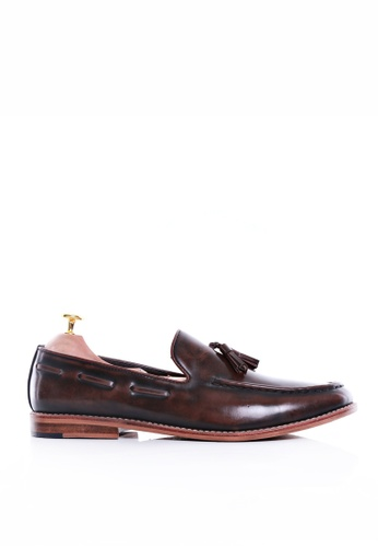 Zeve Shoes brown Zeve Shoes Tassel Loafer - Dark Brown Polished Leather 32306SH4C8DBC4GS_1