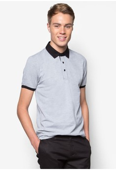 Polo With Contrast Collar And Inner Placket