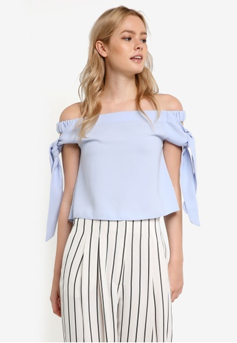 TOPSHOP blue Tie Sleeve Bardot Blouse TO412AA0RFTIMY_1