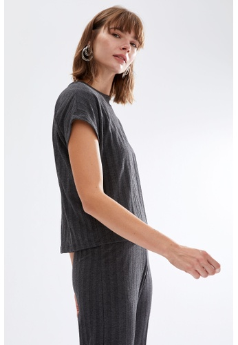 DeFacto grey Woman Knitted Short Sleeve T-Shirt 471EAAA3324792GS_1