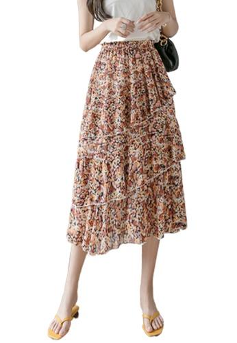 Halo orange Summer Floral Printed Skirt 8596EAA5036B45GS_1