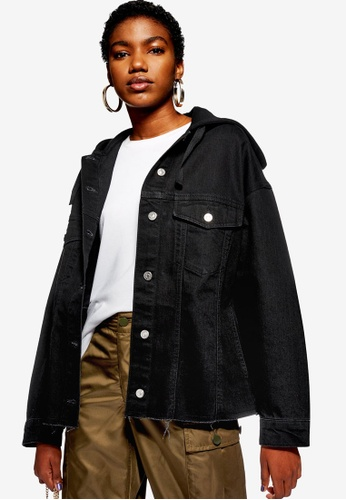 TOPSHOP 黑色 Hooded Hybrid Denim Jacket A84E6AA04CE9C7GS_1