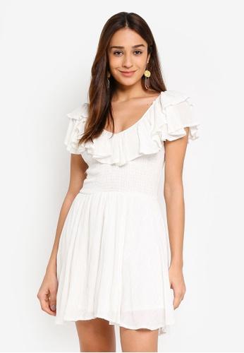 INDIKAH white Tiered Ruffle Neck Textured Babydoll Dress B31BBAAA02E7E4GS_1