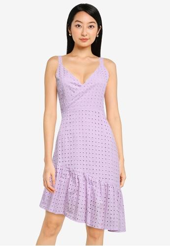ZALORA BASICS purple Asymmetric Hem Eyelet Dress EC49AAAEC5141EGS_1