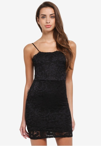 Miss Selfridge black Petite Square Neck Lace Bodycon Dress E3FF2AA127DB62GS_1