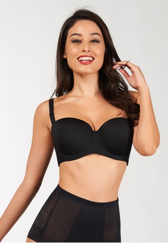 Triumph black Fashion Wired Push Up Bra with Detachable Straps TR217US0F1SNSG_1