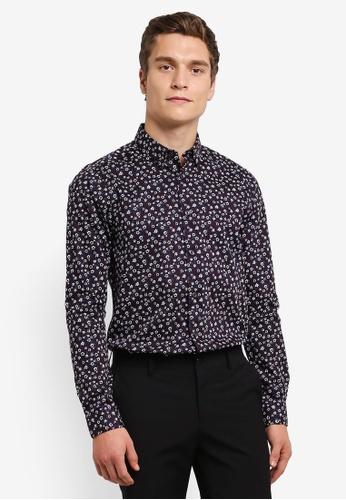 Burton Menswear London red and multi Long Sleeve Floral Print Shirt BU964AA0RUL9MY_1