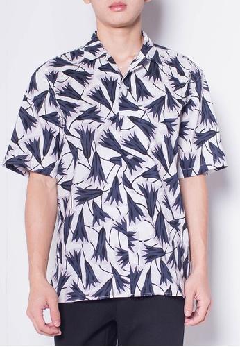 SUB white Men Short-Sleeve Camp Collar Printed Cotton-Voile Shirt DEC98AA95A537DGS_1