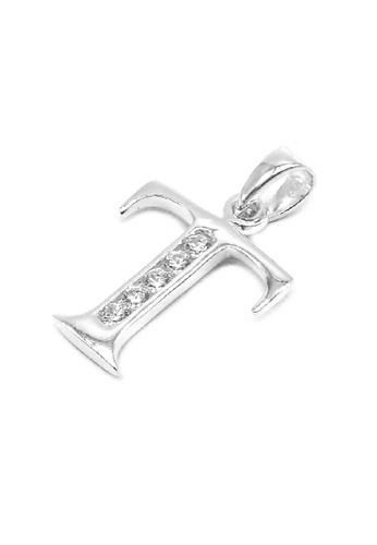 """Silverworks silver Andy Silver Letter """"T"""" Charm with Zirconia Stones 70D9BAC7646234GS_1"""