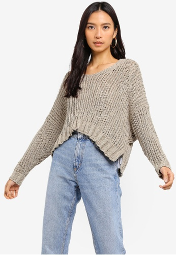 Cotton On silver Cropped Open Knit Pullover 1AAADAA371575BGS_1