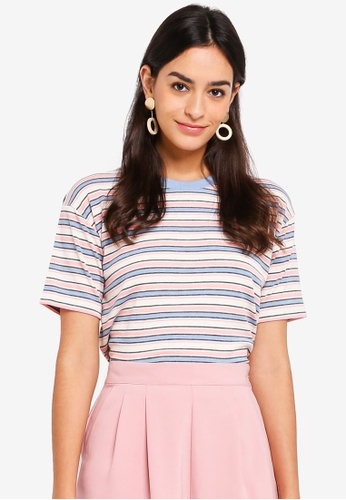 TOPSHOP pink and multi Multi Stripe Boxy T-Shirt 42092AA6780211GS_1