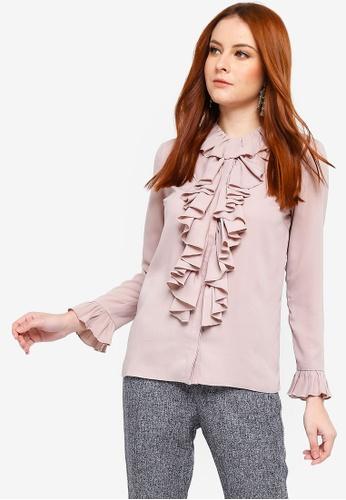 Zalia purple Frill Placket Shirt 220A5AA1F8E495GS_1