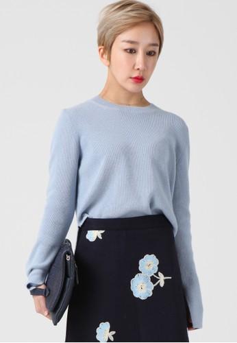 韓流時尚 側esprit outlet 台中開羊絨針織上衣 F4006, 服飾, 上衣