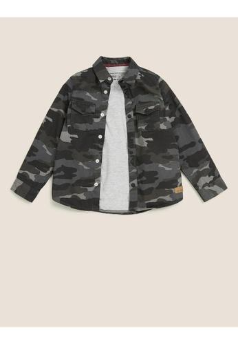 MARKS & SPENCER grey M&S Cotton Camouflage Shirt & T-Shirt Set (2-7 Yrs) 5C8E3KAC62BC69GS_1