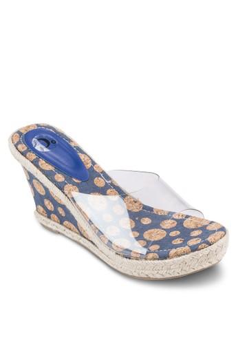 透明露趾印花楔型esprit 工作跟涼鞋, 女鞋, 鞋