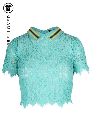 Dkny blue Pre-Loved dkny Turquoise Lace Croop Top 9F1A5AA2385AD7GS_1
