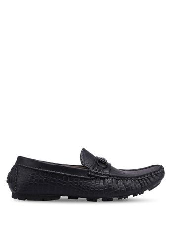 Rocklander black Metal Hardware Croc Texture Loafers B2403SH5A2274CGS_1